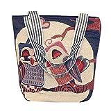 SDCVRE Bolsa de la Compra,Women Canvas Bags For Women's Cartoon Owl PrintShopper Shopping Bags Ladies Large Capacity Tote Bag,H,China