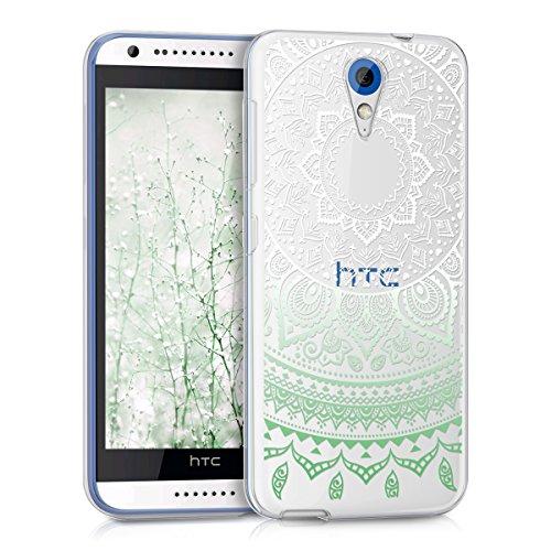 kwmobile Hülle kompatibel mit HTC Desire 620G - Handyhülle - Handy Hülle Indische Sonne Mintgrün Weiß Transparent