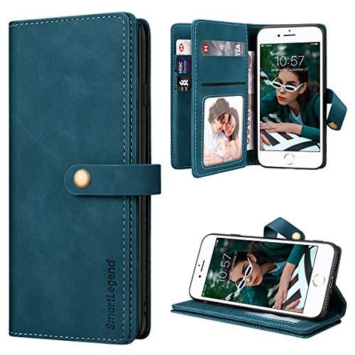 SmartLegend para Funda iPhone SE 2020 con 8 Tarjetero, Funda iPhone 8/7 con Tapa Fundas Libro de Cuero PU Premium Magnético Suporte Silicona Carcasa iPhone 7/8/iPhone SE 2020 - Azul-Verde