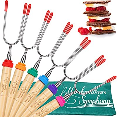 Carpathen Campfire Roasting Sticks for Marshmallow and Hot Dog - Set of 6 Telescopic Smores Skewers Extra Long Heavy Duty Forks for Fire Pit & Fireplace - Camping Grill Accessories