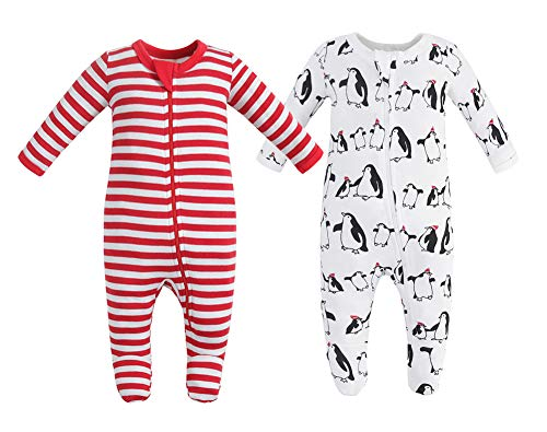 Owlivia Organic Cotton Baby Boy Girl 2 Pack Zip Front Sleep 'N Play, Footed Sleeper, Christmas Pjs Long Sleeve (Size 0-18 Month)(0-3Months,Penguin+Red Stripe)