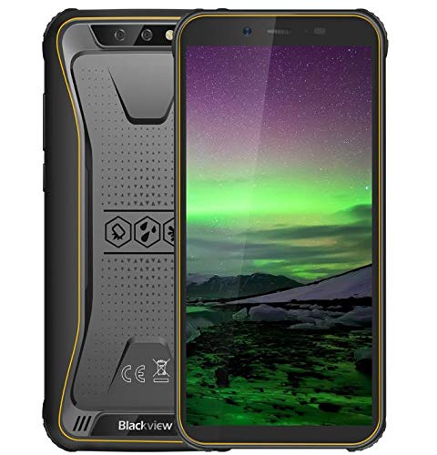"Blackview BV5500 Ruggedandroid 8.1 3G Smartphone, IP68 Waterproof/Shockproof/Dustproof, Dual SIM free, 1.3GHz 2GB+16GB, 5.5"" HD+ Screen (18:9 ratio), 5MP+8MP dual camera, 4400mAh battery GPS Yellow"