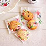 300pcs Thank You Printed Plastic Bags Pink Flower OPP Self Adhesive Cookie Mini Candy Packaging...