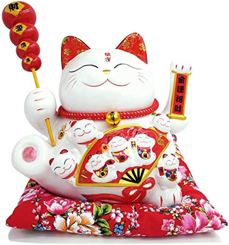 Maneki Neko Winkekatze Glückskatze Glücksbringer Winkende Katze aus Porzellan,Wei L26W19H23cm, L