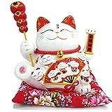 Maneki Neko à Bras Mobile- Chat Chinois Porte Bonheur en Porcelaine-Feng Shui Porte Dore,Blanc L26*W19*H23cm, L