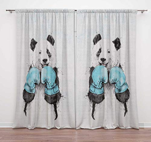 Timingila White Panda and Boxing Gloves Animal Printed Door Curtains with Rod Pocket Living Room Window Curtains Drapes for Bedroom 2 Panel- 54 X 84 Inches