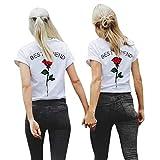 MORCHAN Femmes Best Friend Lettres Rose Imprimé T-Shirts Chemisiers causales Tops (L, Rouge)