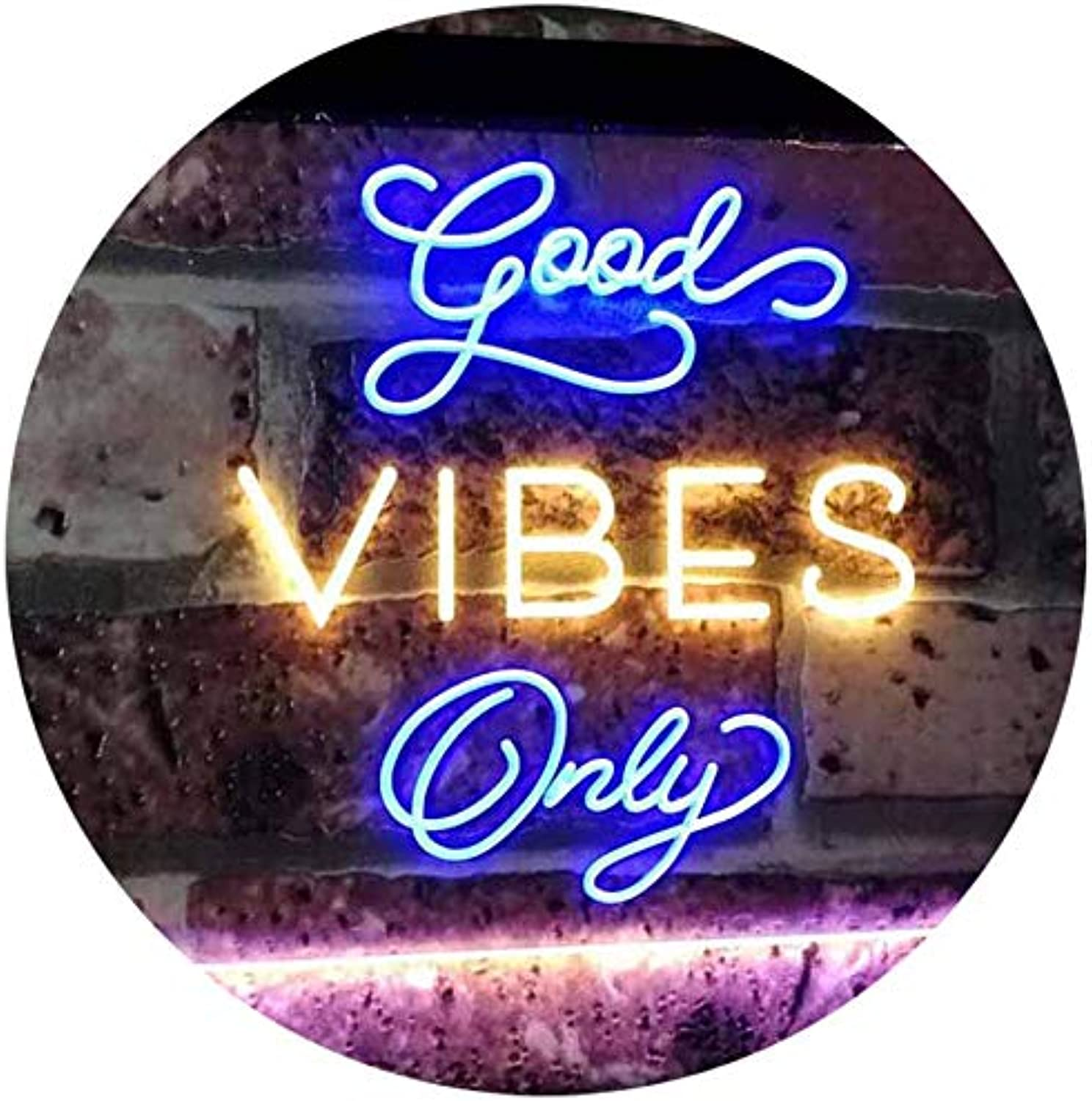 ADVPRO Good Vibes Only Home Bar Disco Room Display Dual Farbe LED Barlicht Neonlicht Lichtwerbung Neon Sign Blau & Gelb 400mm x 300mm st6s43-i3076-by