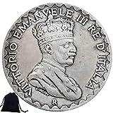 YunBest Moneda de 1925 Gran níquel Italia - Monedas conmemorativas de Italia - Monedas de Europa de Italia + bolsa KaiKBax – Regalo para novios/marido BestShop