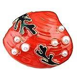 MoGist Broche de Concha Rojo Coral, Perchero Vintage Pop Accesorios de Moda Buenos Regalos para Amigos Aleación 5.3 * 3cm