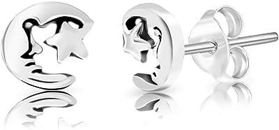 DTP Silver - Pendientes de mujer en forma de Hombre en la Luna y Estrella 6 x 7 mm - Plata de Ley 925