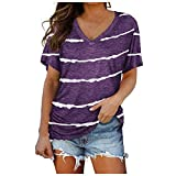Women's 80s Off Shoulder Tops Long/Short Sleeve Casual Loose Fit Blouse T-Shirt Womens Halter Tops Larace Plus Size Tops for Womens 3/4 Sleeve Tops for Womens Plus Size Night Out(#3-Purple,M)