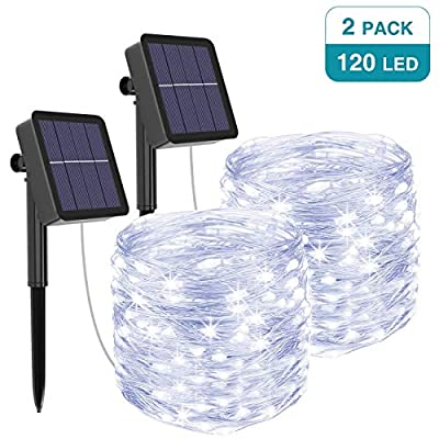 kolpop Solar String Lights, Solar Powered Fairy Lights Outdoor 39Ft 120LED String Lights 8 Modes Copper Wire Decoration Christmas Waterproof Garden Camping Patio Trees Party Deco Lights Cold White