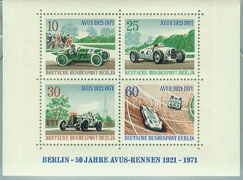 AVUS 1921-1971 - Berlin - 50 Jahre Avus-Rennen (Briefmarken für Sammler) postfrisch 10/25/30/60 Pf./Pfennige [Briefmarken, Block 3]