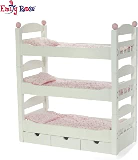 Emily Rose 18 Inch Doll Furniture   3 Single Stackable Doll Beds in One! Triple Bunk Bed and Doll Clothes Storage Drawer   Fits 18