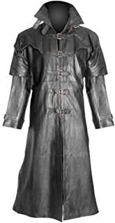 Womens Ladies Pure Lambs Leather Goth/Steampunk Gothic Van Helsing Matrix Trench Coat