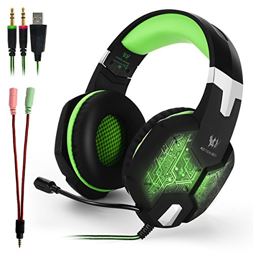 KOTION EACH G1000 3.5mm PC Cuffia Stereo Gaming con in-line Mic Over-ear con l'isolamento del rumore LED Light per PC Laptop (nero + verde)
