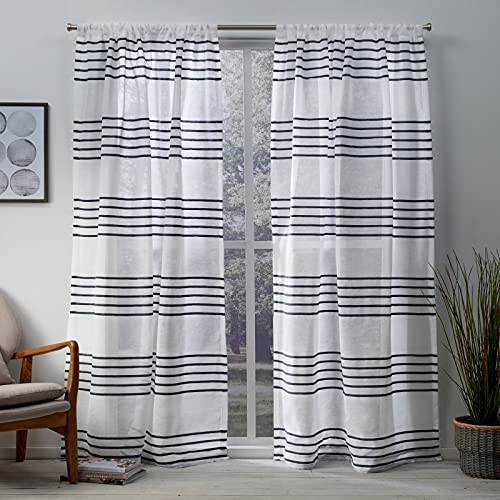 Exclusive Home Curtains Monet Pleated Sheer Linen Cabana Stripe Window Curtain Panel Pair with Rod Pocket, 54x84, Indigo