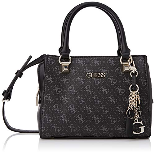 Guess CAMY Small Girlfriend Satchel, Bolsos para Mujer, Coal Multi, Talla única