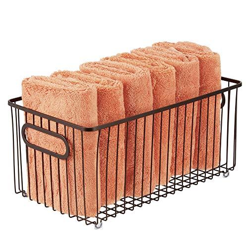 New mDesign Metal Bathroom Storage Organizer Basket Bin - Farmhouse Wire Grid Design - for Cabinets,...