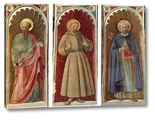 "STS Paul, Francis and Jerome by Paolo Uccello - 12"" x 16"" Gallery Wrap Canvas Art Print - Ready to Hang"