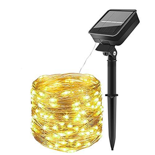 Guirnaldas Luces Exterior Solar,Luces Solares Cadena 100 LEDs 10m LEDs Impermeable con 8 modos iluminación IP65 Decoración para Navidad,Jardín, Fiesta, Boda, Árbol (1 Pack)