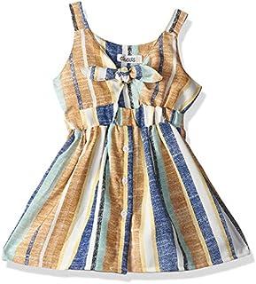 Giggles Sleeveless Elastic Waist Striped Cotton Dress for Girls