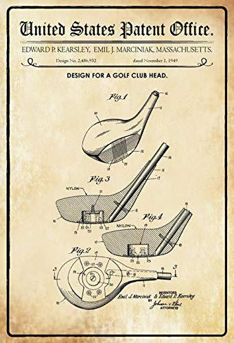 FS Patent ontwerp voor Golfclub Kop-Kearsley metalen bord bord gebogen metalen teken 20 x 30 cm