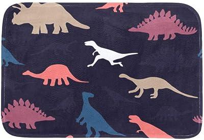 EGGDIOQ Doormats Pattern with Dinosaurs Custom Print Bathroom Mat Waterproof Fabric Kitchen Entrance Rug, 23.6 x 15.7in
