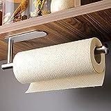 Jsdoin Soporte para rollo de cocina de acero inoxidable sin taladrar - Soporte para rollo de papel autoadhesivo Práctico soporte para rollos debajo del armario