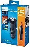 Philips S 3110/41 Máquina de afeitar de rotación Recortadora Negro - Afeitadora (Máquina de afeitar de rotación, Negro, Batería, Ión de litio, Integrado, 45 min)