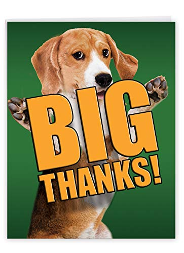 Cute Personalized Greeting Card with Envelope 8.5 x 11 Inch - 'Dog Big Thanks' Brown and White Beagle Puppy Giving You a Hug and Big Thank You J2369DTYG