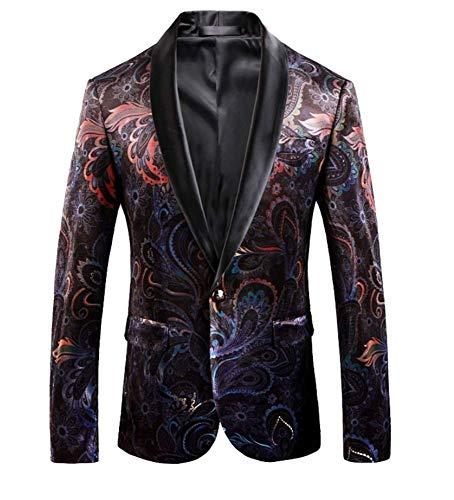 Gentleman retro vintage velvet print blazer slim fit bloemenpatroon mantel mannen casual pak jas