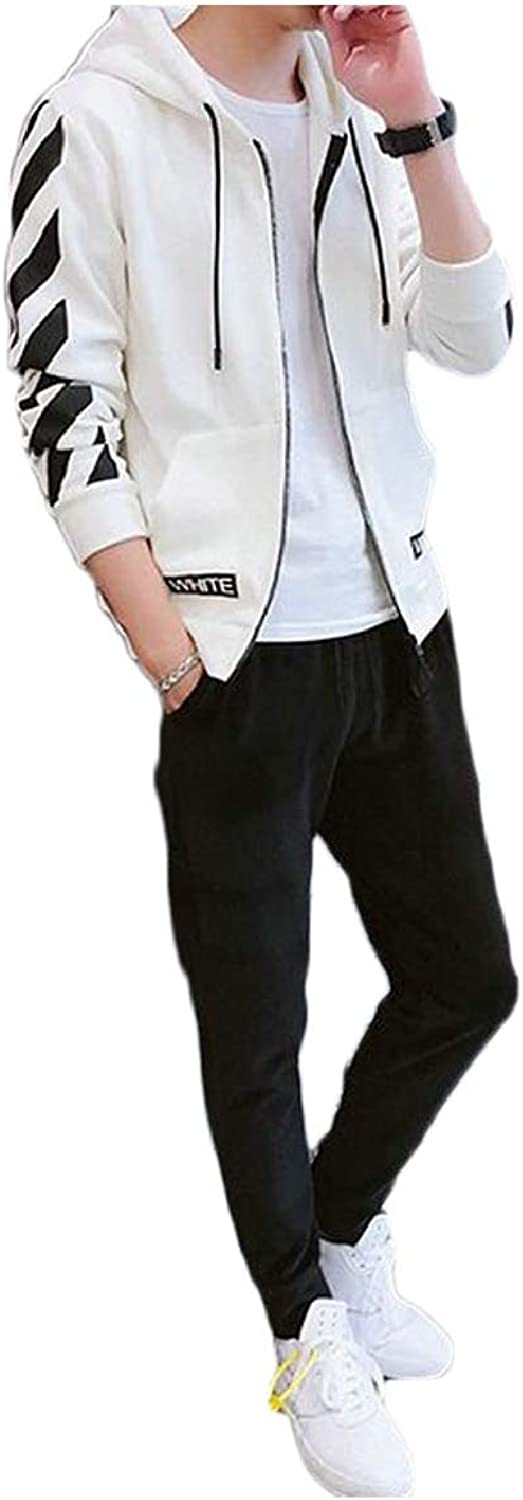 Tymhgt-CA Mens Comfy Tracksuit Hoodie Zipper Stripe Sport Two Piece Outfit
