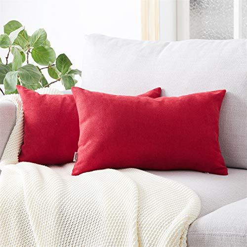 Topfinel Kissenbezüge Einfarbig Chenille Dekokissenhülle mit Verstecktem Reißverschluss für Sofa Auto Bett 2er Set 50x70 cm Rubinrot