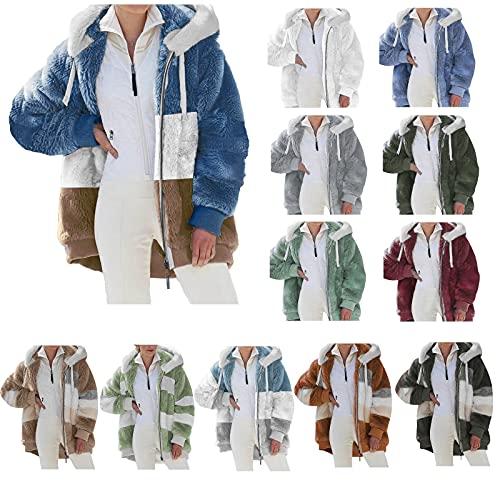 Dubras Women's Plus Size Color Block Fuzzy Fleece Zipper Jacket,Soft Fleece Hoodie Open Front Hooded Cardigan Jacket Winter Warm Coats