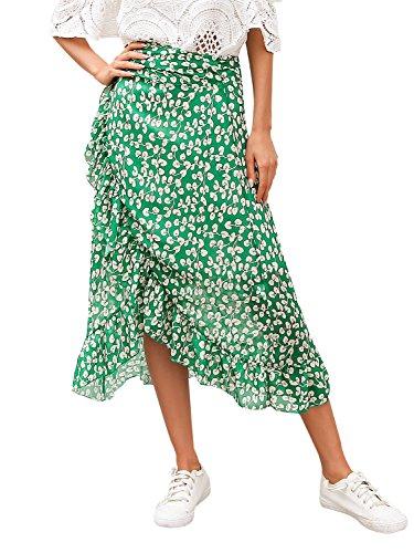 Simplee Apparel Women's Boho Floral Print High Waist Summer Bech Wrap Maxi Skirt Cover Up Pink