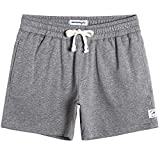 MaaMgic Mens Athletic Gym Shorts 5.5' Elastic Waist Casual Pajama Pocket Jogger Men Workout Short Pants Light Grey Large