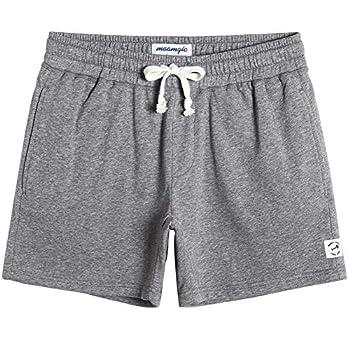 maamgic Mens Athletic Gym Shorts 5.5  Elastic Waist Casual Pajama Pocket Jogger Men Workout Short Pants Light Grey Small