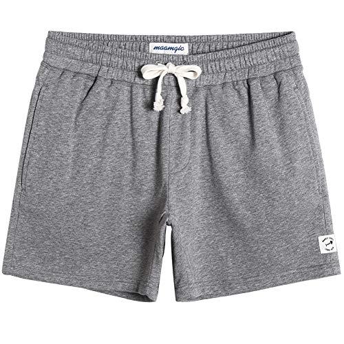 "MaaMgic Mens Athletic Gym Shorts 5.5"" Elastic Waist Casual Pajama Pocket Jogger Men Workout Short Pants Light Grey Large"