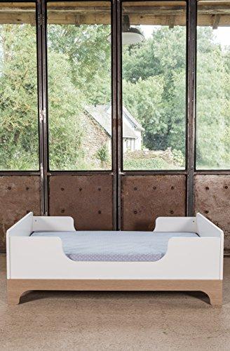 Kadolis Erweiterbares Bett Calvi - 70x140cm Weiß/Holzfarben