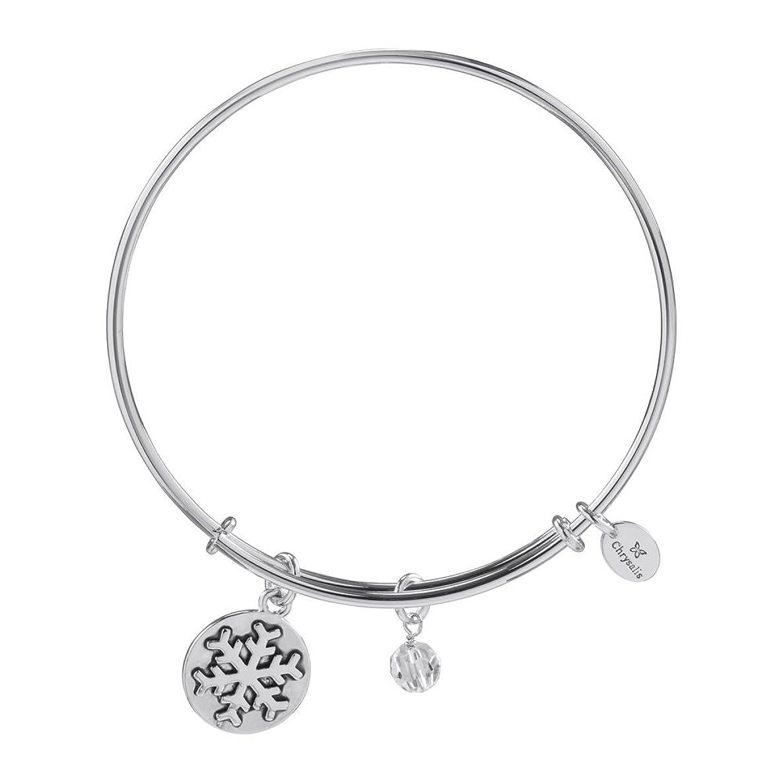 Chrysalis Holiday Snowflake Pendant Charm Expandable Bangle Bracelet, Gold Plated