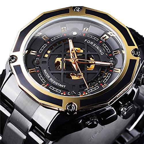 Excellent Relojes mecánicos automáticos de los Hombres Reloj de Reloj de Pulsera analógico con Correa de Acero Inoxidable Deportes Esqueleto,A03
