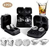 3 PACK Ice Cube Trays Mold Silicone Easy Release 3D Skull Diamond-shaped Sphere Ice Ball Maker with Lid and Funnel for Cocktail Whisky Bourbon Juice Beverages