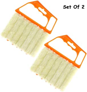 2PCS Blind Cleaner , Air Conditioner Mini Brush , Window Contacts Blade Cleaning Vertical Duster With 7 Slat Handheld Household Tool , Washable Dust Venetian Shutters For Housework , Office Yellow