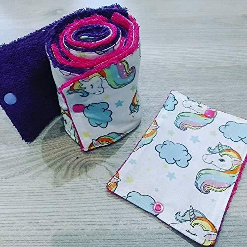 papier toilette lavable,en coton et éponge, zéro déchet, motif licornes, fait main, zéro waste