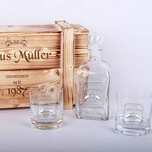 Whisky-Geschenkset in Holzkiste mit Gratis-Gravur - 2 Whiskygläser + Whiskyflasche + Gravur als Geburtstagsgeschenk | Männergeschenke (WL2)
