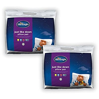 Silentnight Just Like Down Pillow-Pack of 4, Microfibre, White, Single