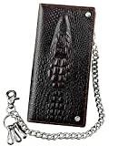 Mens Long Crocodile Head Motorcycle Punk Leather Wallet With a Biker Chain L73