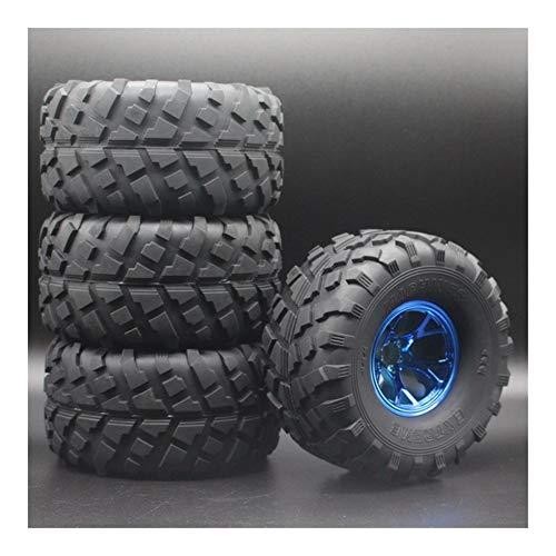 Huanruobaihuo Neumáticos de Goma de 4 Piezas Juegos de Ruedas de Plata for 1:10 Monster Truck Bigfoot for HSP 94111 94188 (Color : Blue)